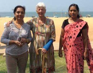 Lily Thapa with Margaret Owen and Juanita Primrose in Sri Lanka, 2017