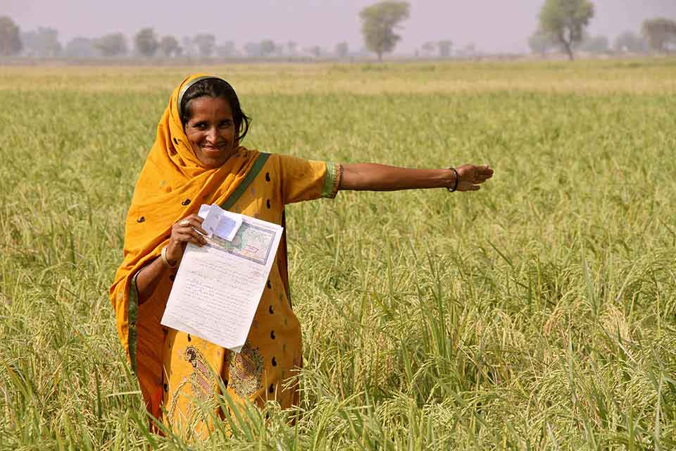 """Durdana, a once landless woman farmer, proudly shows off her land and Land Tenancy Agreement in Dadu District, Sindh Province, Pakistan. In Pakistan, UN Women, in collaboration with local partners, has worked with more than 1,200 rural women farmers to acquire land tenancy rights. """"I do not know anything else but working in the fields,"""" says Durdana. """"For the first time in my life I can say something is mine. This land, as far as the eye can see is mine—this paper says so."""" Photo: UN Women/Faria Salman"""